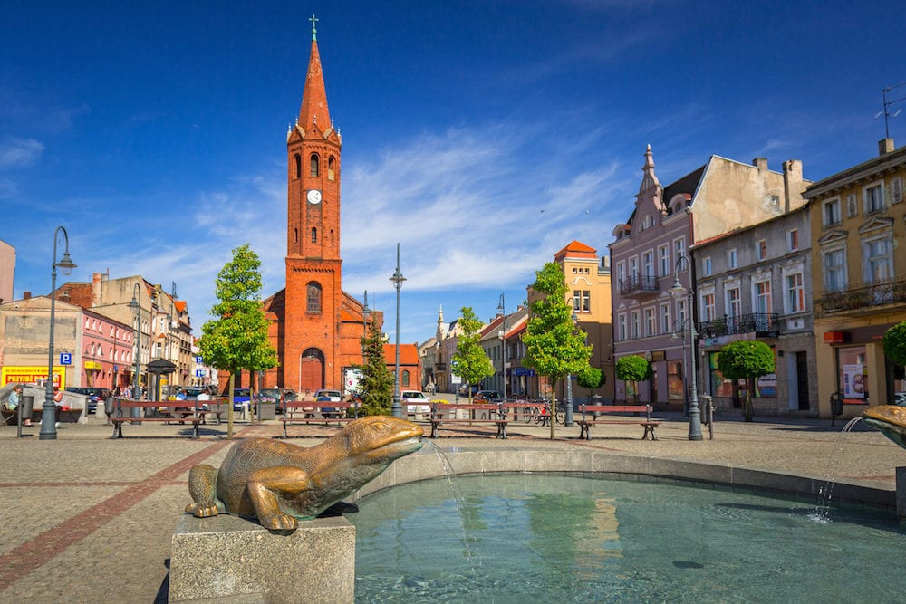 Wabrzezno, Poland - Architecture of the old town in Wabrzezno, Poland. Wabrzezno is a historical town found in 13th century in Poland.