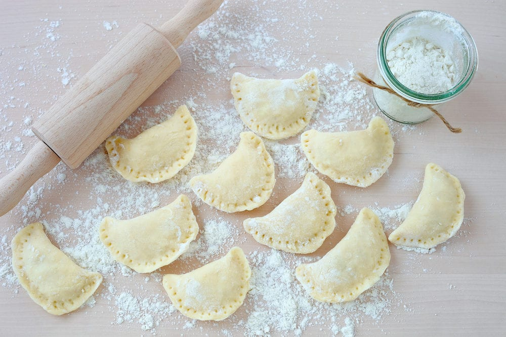 Traditional Polish food - pierogi: are the Polish form of a handmade dumpling filled with meat, potato or cheese.