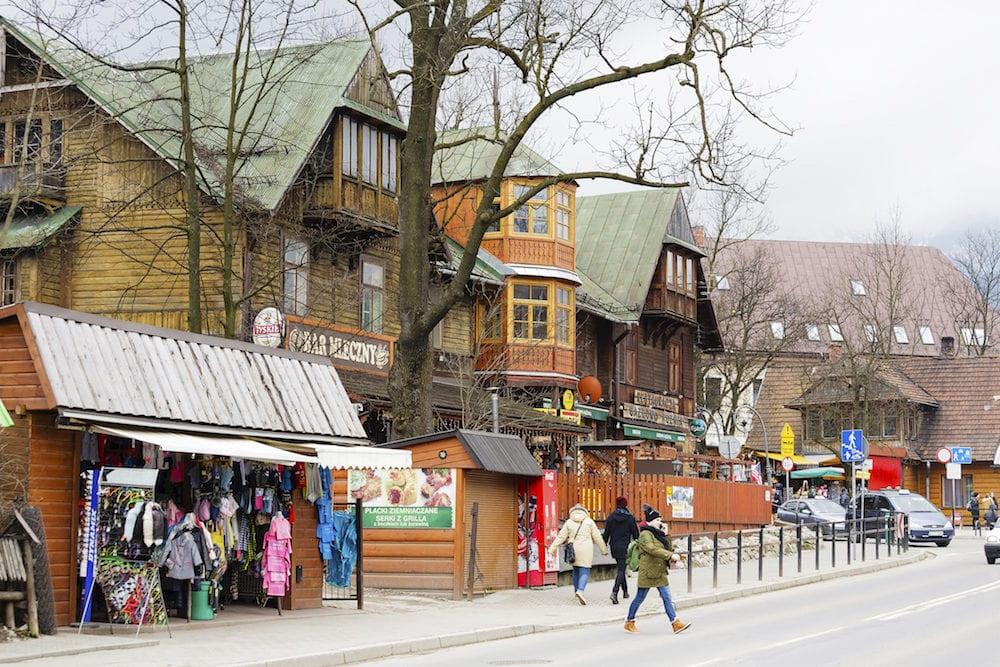 ZAKOPANE POLAND - Wooden building until 1898 the biggest hotel in Zakopane. Nowadays it houses famous Gazdowo-Kuznia restaurant and milk-bar