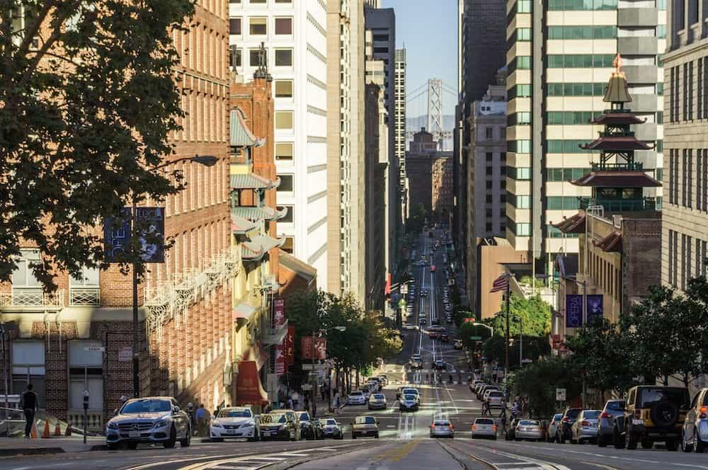 , San Francisco, CA, USA: A view of San Francisco and Bay Bridge from Nob Hill.