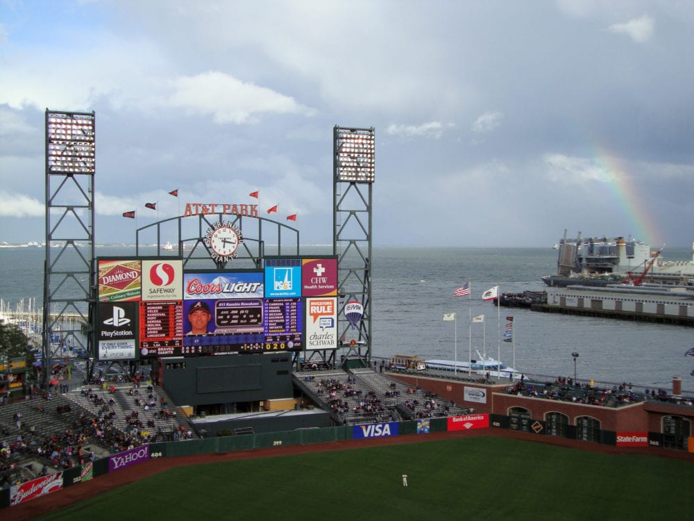 SAN FRANCISCO - Braves Vs. Giants: braves Kenshin Kawakami on the scoreboard with rainbow visible in distance at Att Park San Francisco California.