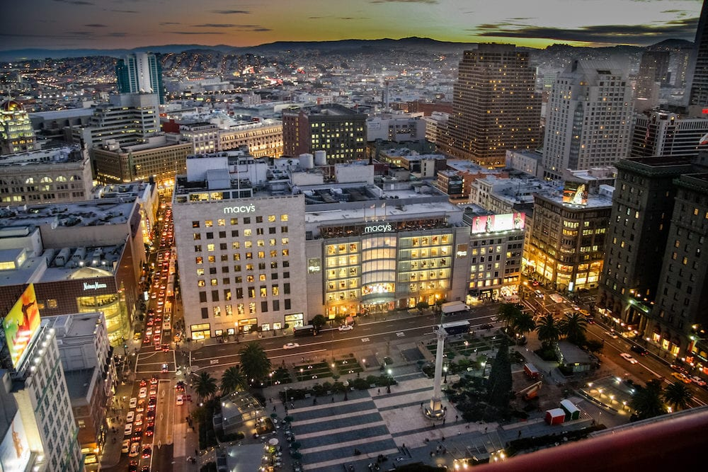 SAN FRANCISCO, CA, USA : Aerial view to Macy's flagship store on Union Square at night in San Francisco, CA, USA.