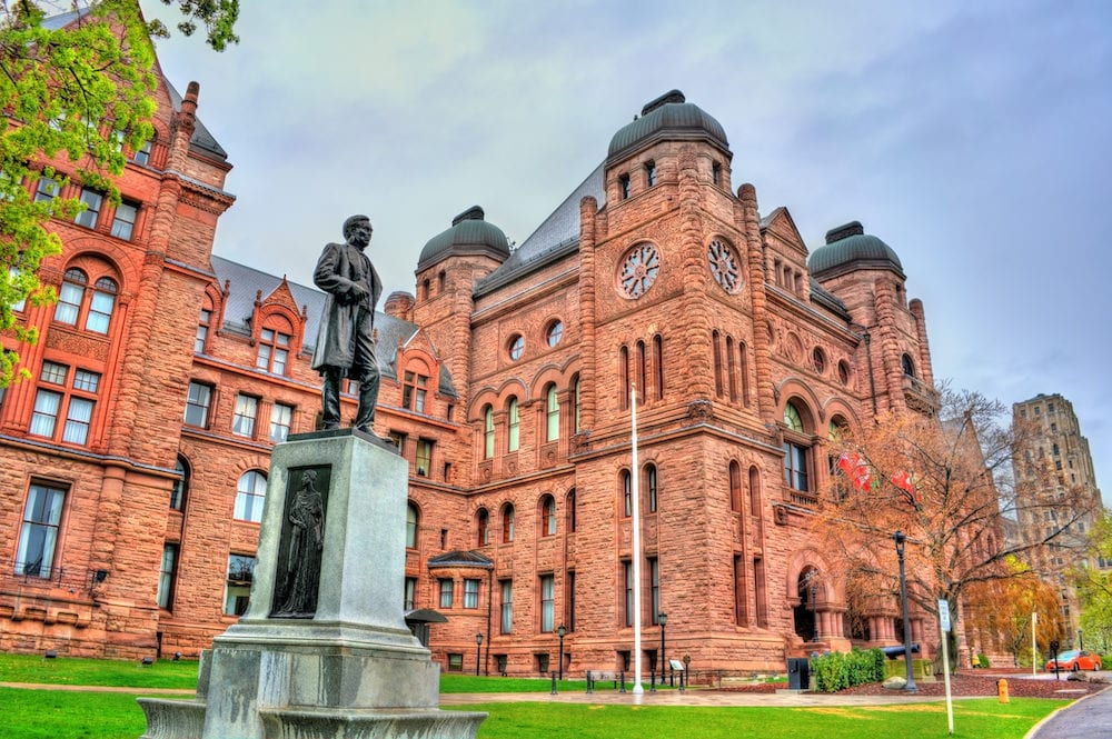 Sir Oliver Mowat statue at the Ontario Legislative Building in Toronto - Canada