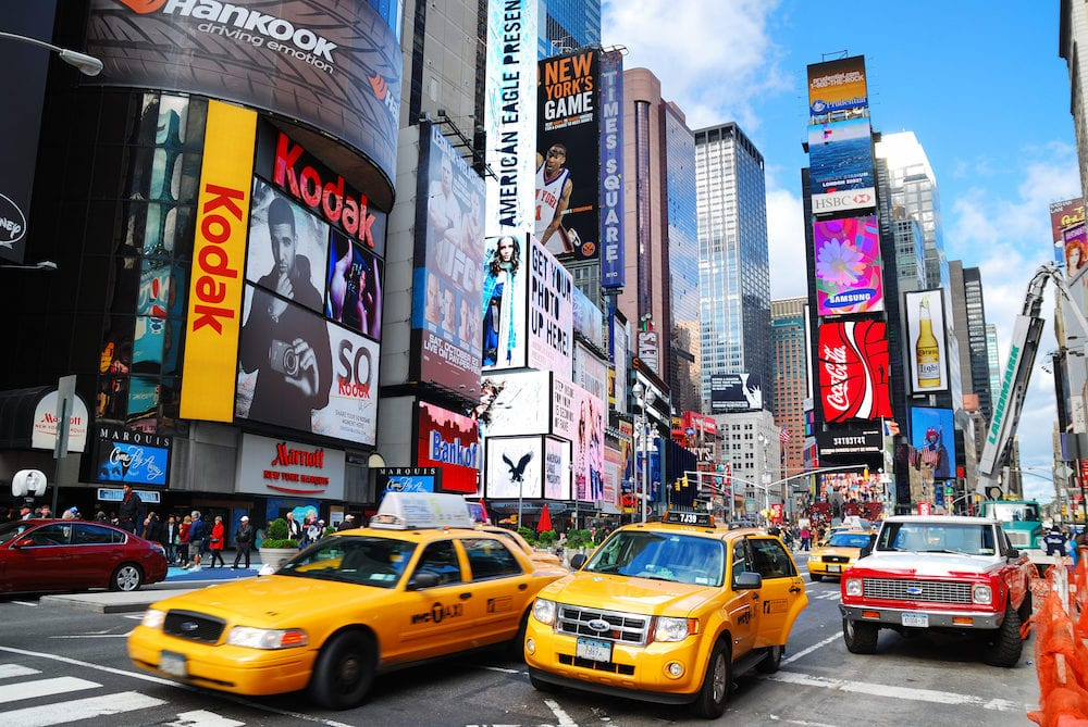 NEW YORK CITY -Times Square, featured with Broadway Theaters and LED signs, is a symbol of New York City and the United States, in Manhattan, New York City.