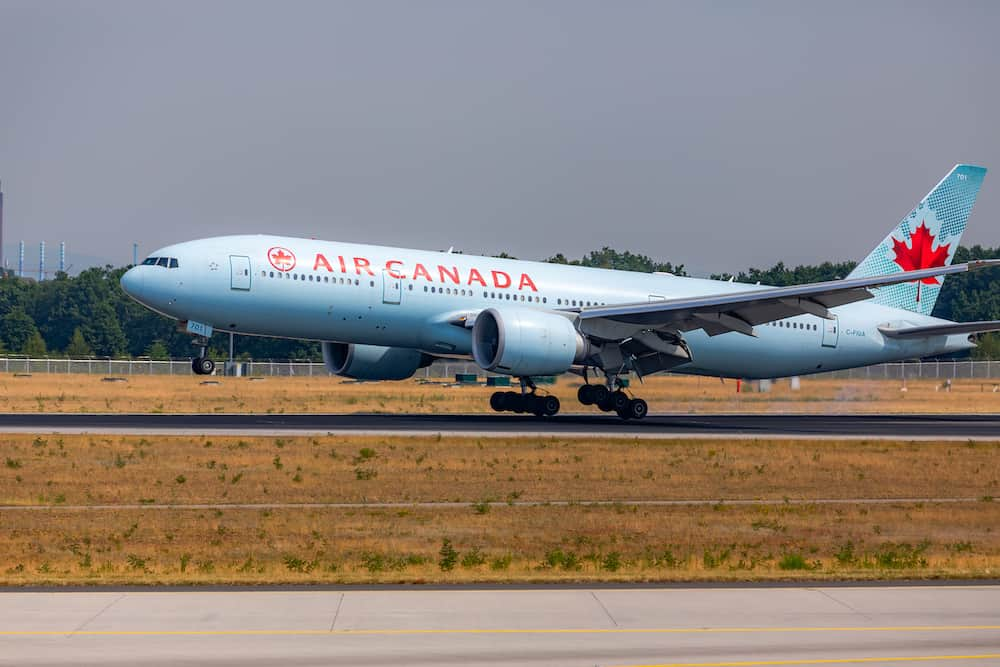 AIRPORT FRANKFURT,GERMANY: Boeing 777-200LR Air Canada is the flag carrier and largest airline of Canada by fleet size and passengers carried.