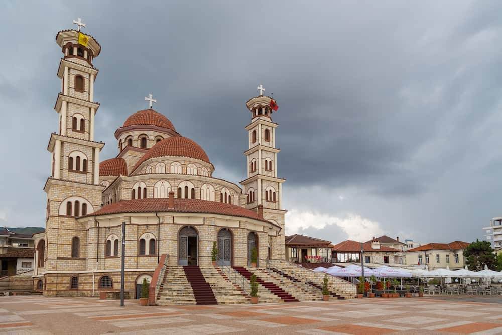 Korce, Albania-: Resurrection of Christ Orthodox Cathedral of Korce, the main orthodox church. Korce, big town in southeastern Albania surrounded by the Morava Mountains.