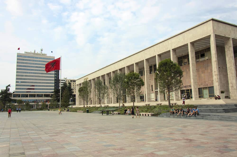 Tirana, Albania - The Palace of Culture and Tirana International Hotel on the Skanderbeg square