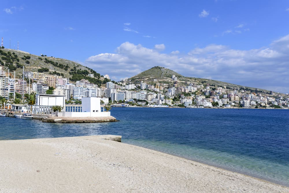 The panoramic view of the city Saranda, most important tourist attraction of the Albanian Riviera - Albania