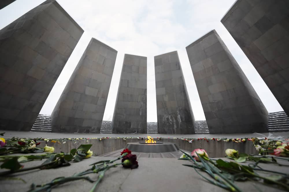 YEREVAN, ARMENIA - Flowers are on floor in Memorial complex Tsitsernakaberd, dedicated to genocide of armenians in 1915