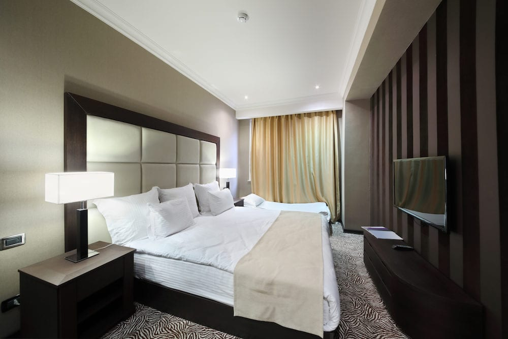 YEREVAN, ARMENIA - Bedroom in Hotel National, Created in a business style, the comfortable hotel allows every guest to feel welcome