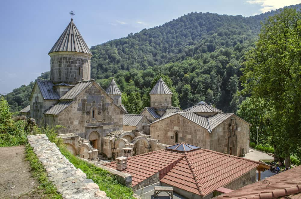 Dilijan, Armenia, Top view of the whole complex of the monastery Haghartsin, located in the mountains and surrounded by forest about the village of gosh, near the town of Dilijan