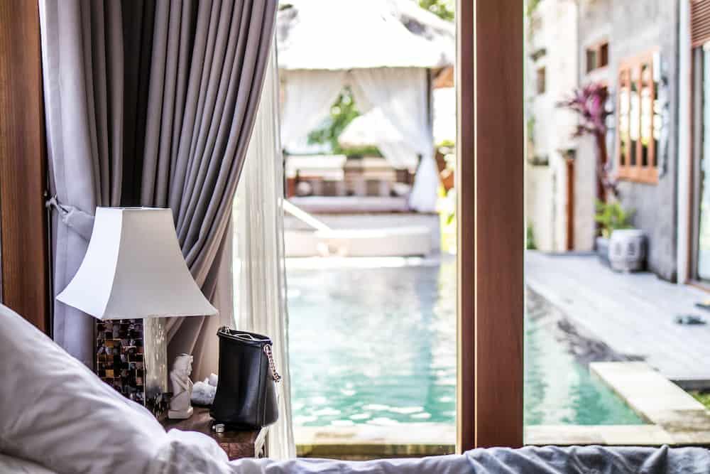 Interior of luxury tropical villa on Bali island.