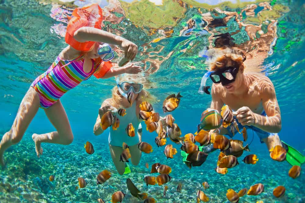 Happy family - father mother child in snorkeling mask dive underwater with tropical fishes in coral reef sea pool. Travel lifestyle water sport adventure swimming on summer beach holiday with kids