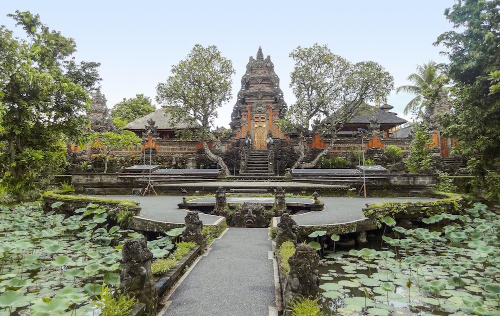 pura taman kemude saraswati temple in Ubud Bali Indonesia