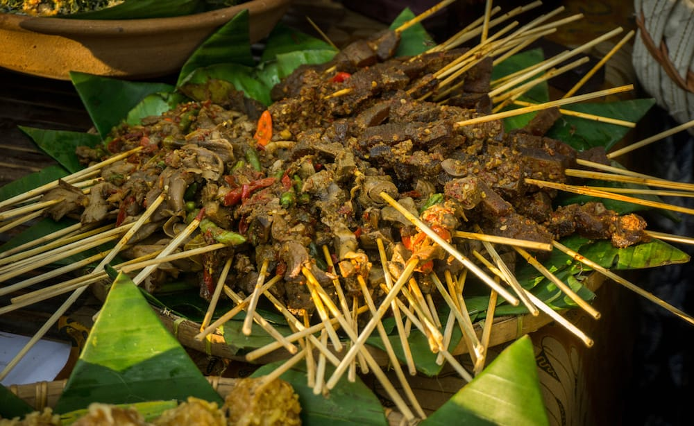 sate or satai traditional meet food asia from indonesia