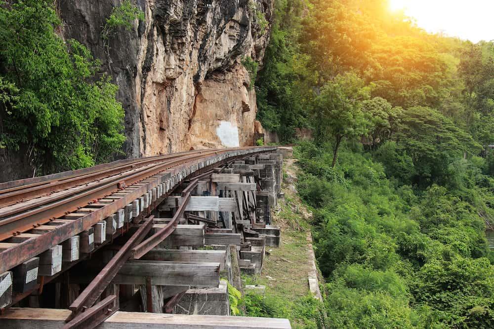 Train ride on the Death railway (river Kwai Thailand). Death Railway train passing over the Tham Krasae Viaduct. Thai - Burma Railway