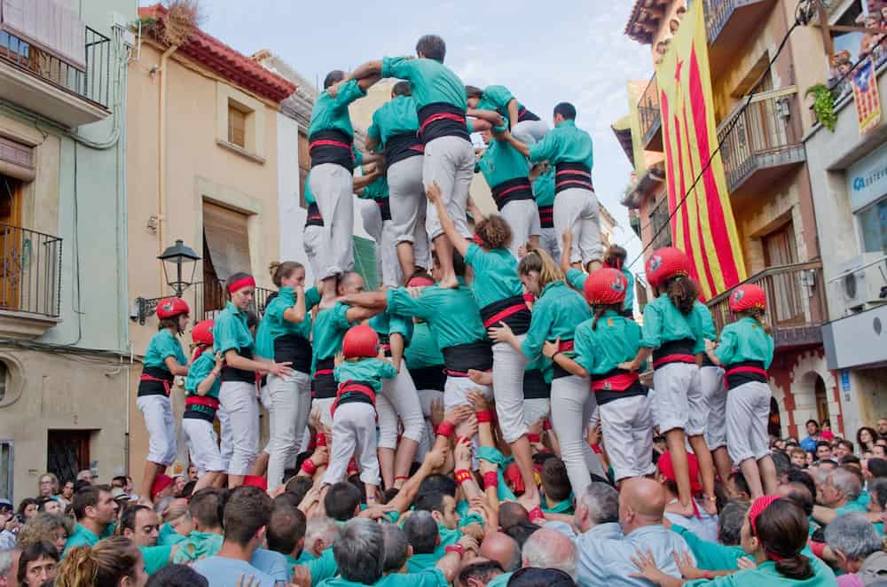 : Castells Performance in Torredembarra Catalonia Spain. A Castell is a Human Tower built traditionally in Catalonia.