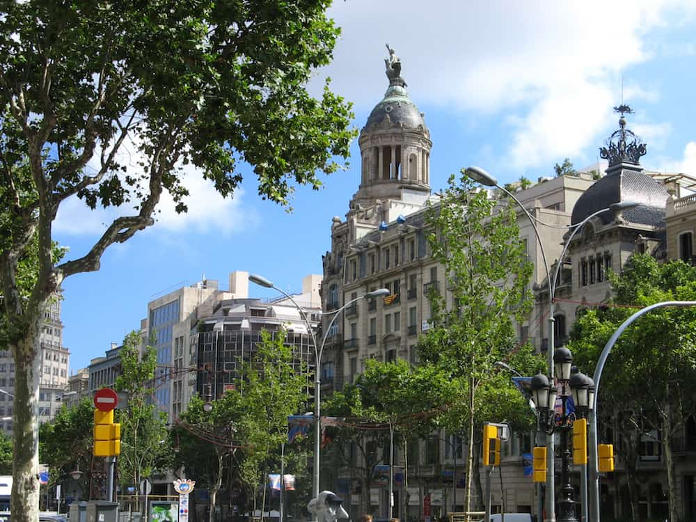 Famous Passeig de Gracia in Barcelona Spain