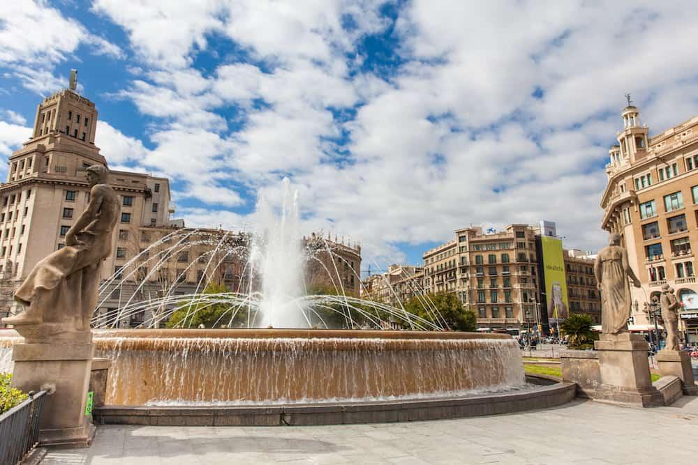 BARCELONA - Fountain at Placa de Catalunya in Barcelona