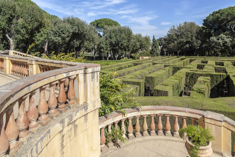 BARCELONA,SPAIN:Labyrinth parc, Parc del Laberint Horta. The oldest garden city, designed in 1792 by Domenico Bagutti.