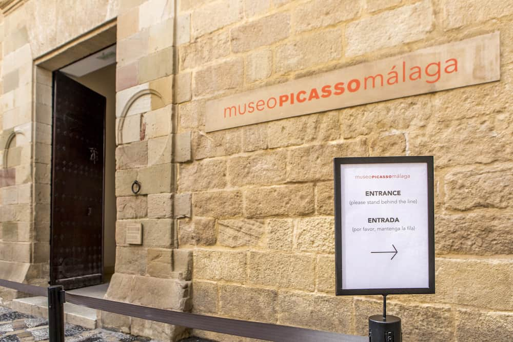 Picasso Museum entrance, located in an old classic palace in the city of Malaga, Spain.