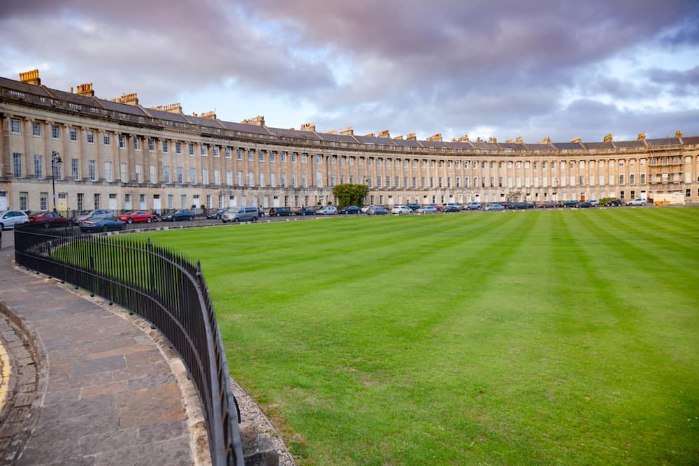 BATH, UK - View of the Royal Crescent, a row of 30 terraced houses laid out in a sweeping crescent, one of the greatest examples of Georgian architecture