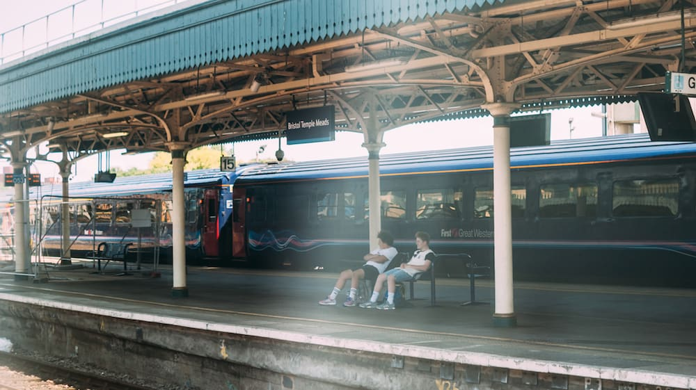 Bath,UK - Waiting for a train on Bath Spa station platform