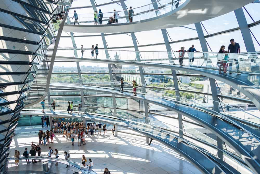 BERLIN, GERMANY - the Glass dome of the Reichstag, the view from the inside. The Reichstag is the most visited parliamentary building in the world, with an average of 8,000 people per day.q