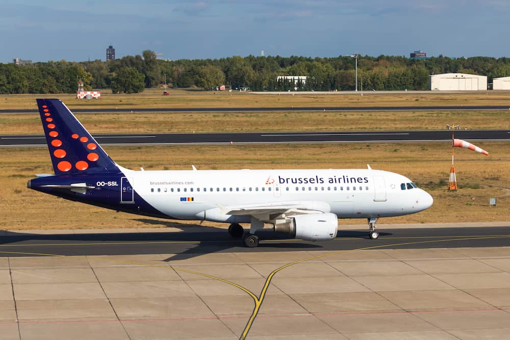 BERLIN, GERMANY-Brussels Airlines, Airbus A319-111 aircraft at Tegel Berlin airport.