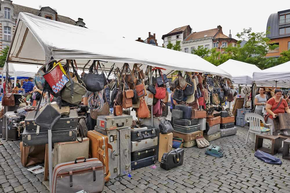 BRUSSELS BELGIUM - Flea market at Place du Jeu de Balle in Brussels. The market takes place daily and is popular among local people and tourists.
