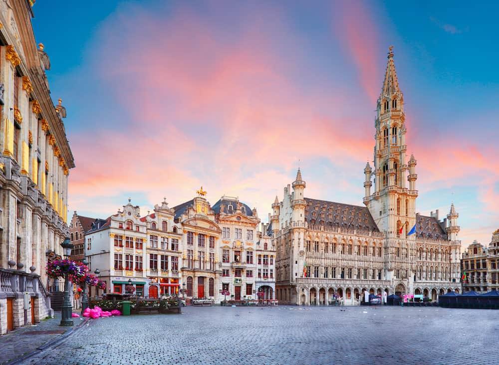 Brussels - Grand place Belgium nobody at sunrise