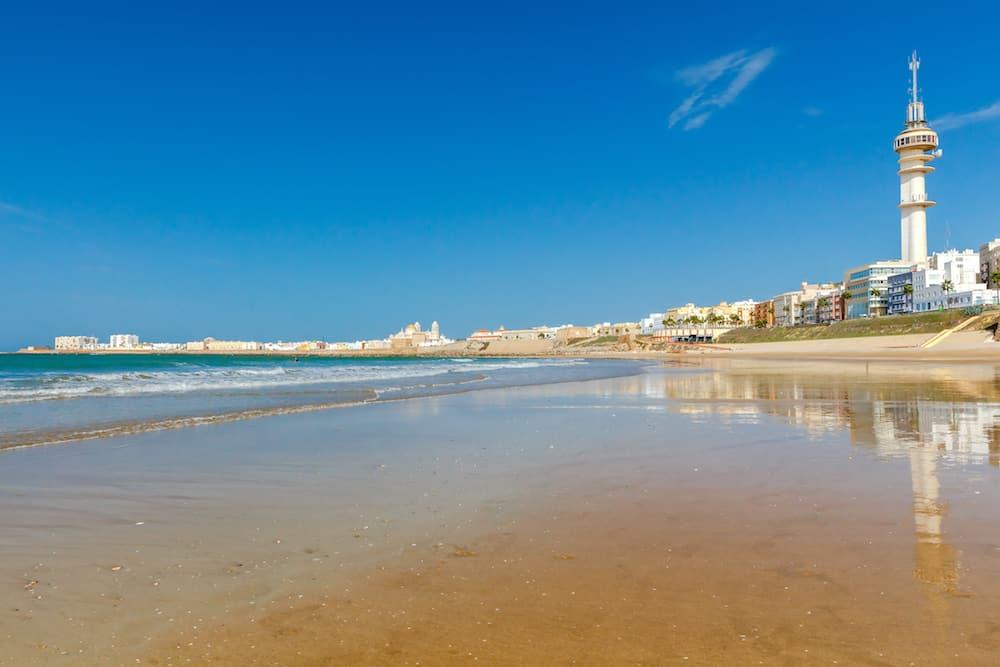 Sandy beach Santa Maria del Mar along the Atlantic Ocean in Cadiz. Spain. Andalusia.