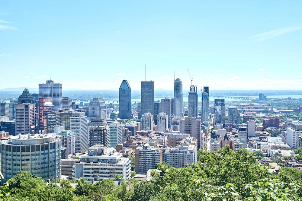 MONTREAL CANADA - Scenic view of downtown Montreal in summer