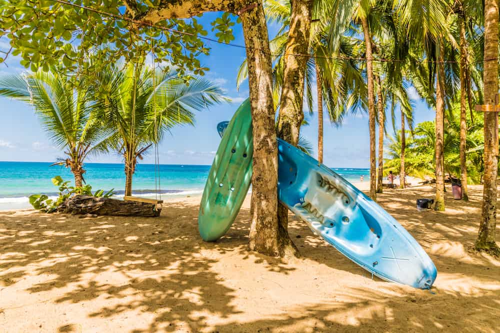 Punta Uva, Puerto Viejo, Costa Rica. A view of canoes on the beach at Punta Uva in Costa Rica