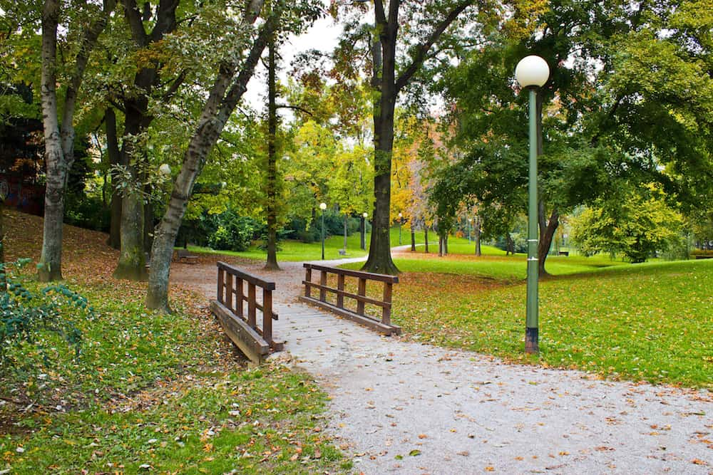 City of Zagreb park Ribnjak in autumn colors Croatia