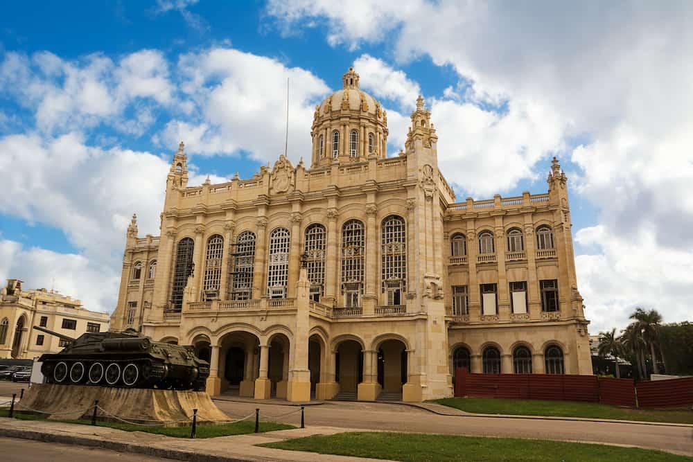 Havana, Cuba - Palace of the Revolution Museum in Havana with a tank