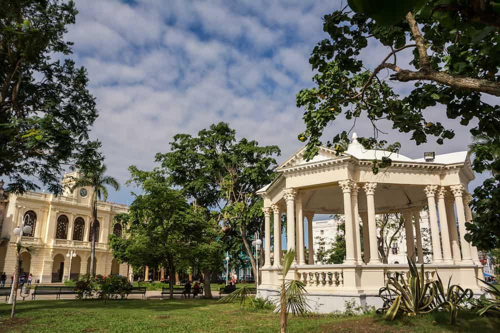 Santa Clara, Cuba - Town hall and neoclassical gazebo in the park in Santa Clara on Sunday morning