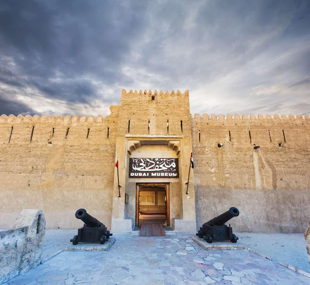 Dubai Al Fahidi Fort (1787) home to the Dubai Museum and city's oldest building. Dubai Uae.