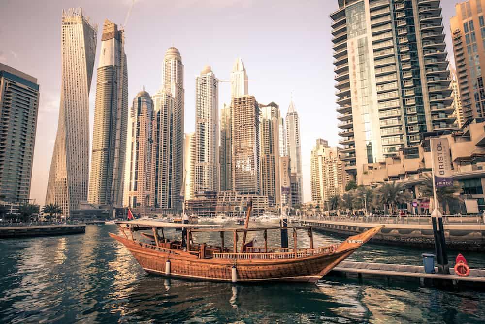 Dubai Marina.. Dubai marina skyline. Dubai Marina is a district in Dubai United Arab Emirates. Dubai Marina is an artificial canal city