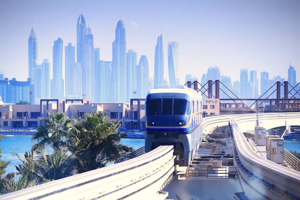 Modern tram in Dubai. Tram moving from Dubai downtown to Palm island.