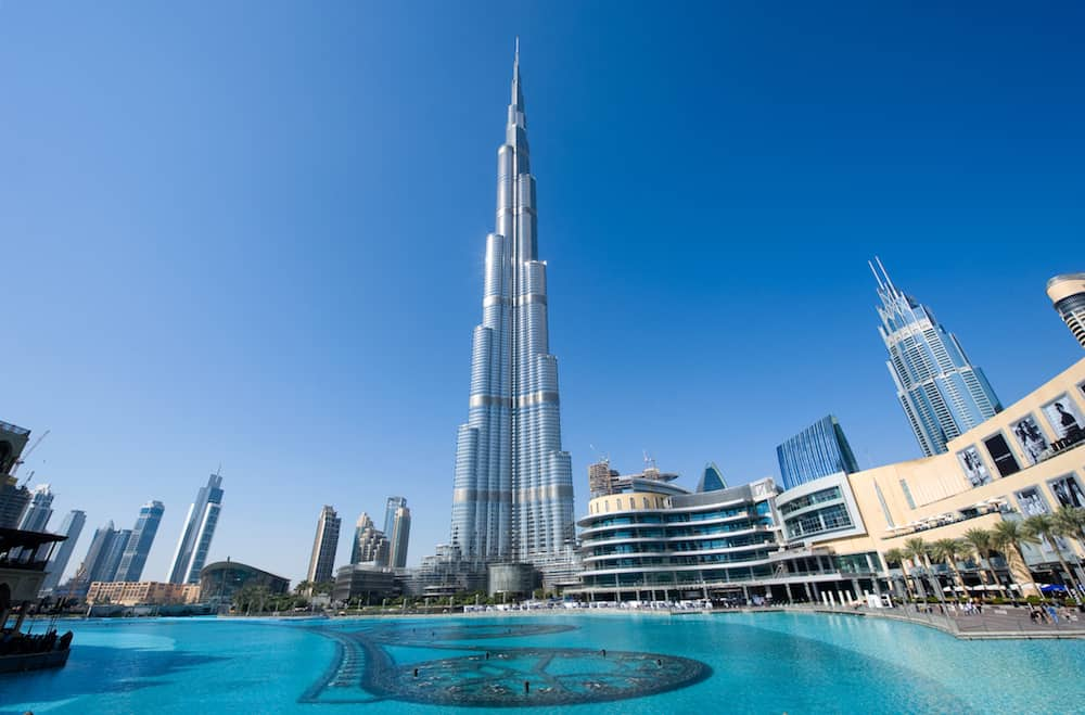 DUBAI, UNITED ARAB EMIRATES -: The Burj Khalifa in the center of Dubai is the tallest building in the world with 828 meters high.