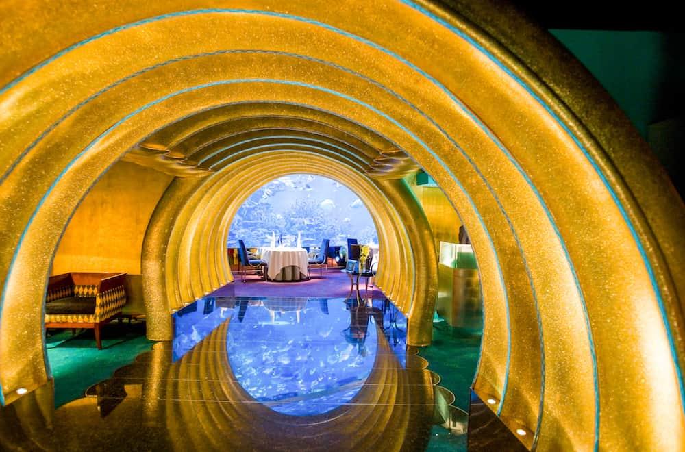 Dubai U.A.E. - The undersea resturant of the luxury Burj Al Arab hotel