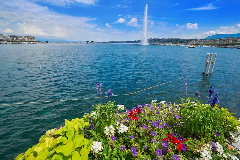 Geneva Geneve lake water Jet D'eau Switzerland Swiss Leman