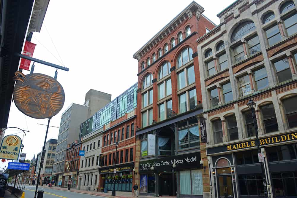 HALIFAX, NS, CANADA - Historic Buildings on Barrington Street between Prince Street and Sackville street in downtown Halifax, Nova Scotia, Canada.