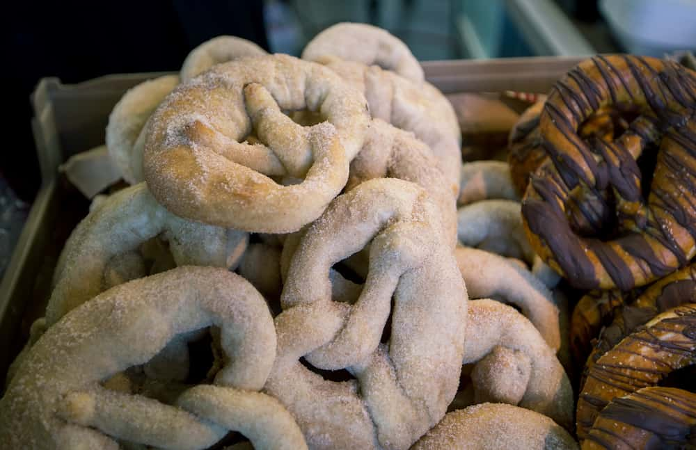 Fresh homemade pretzels at a farmer's market