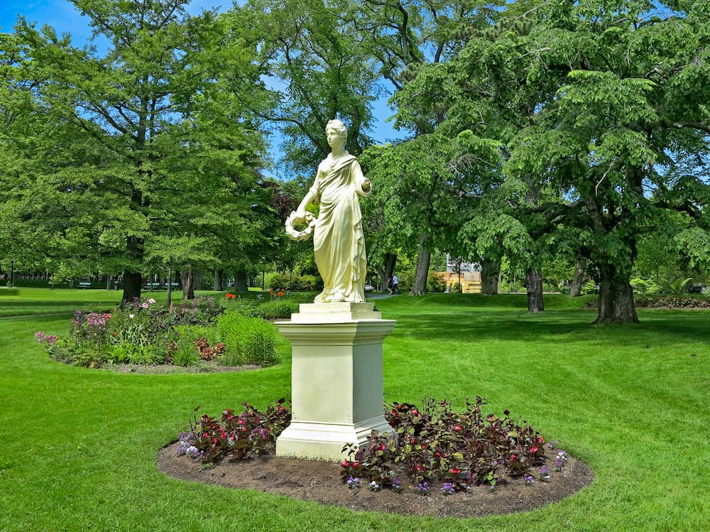 The Statue of the Roman Goddess Flora at the Halifax Public Gardens In Halifax Nova Scotia Canada