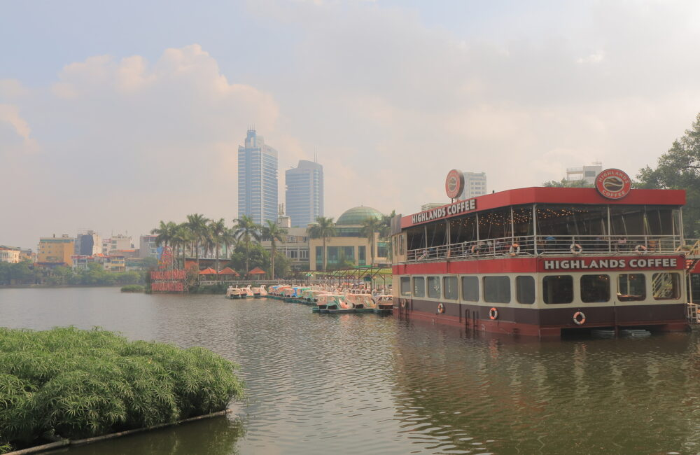 HANOI VIETNAM - : Truc Bach lake cityscape