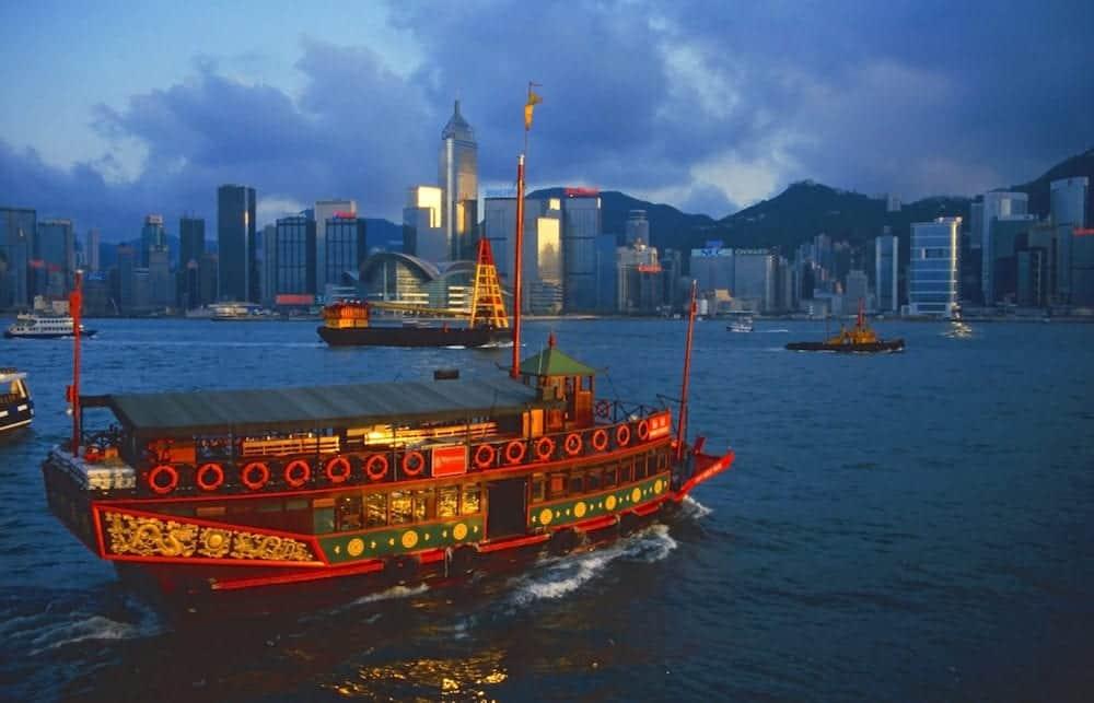 Junk in Hong Kong harbour at evening