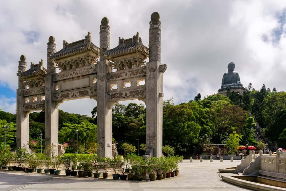 Hongkong scenic Tian Tan Buddha or Big Buddha, a large bronze statue at Ngong Ping, Lantau Island, Hong Kong.
