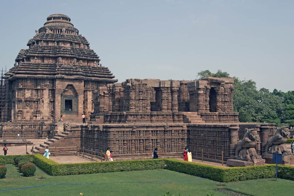 Ancient Hindu Temple at Konark Orissa India. 13th Century AD. Large stone building set in landscaped gardens